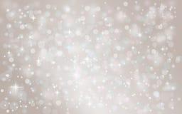 银色抽象雪落的冬天圣诞节假日背景 免版税库存照片