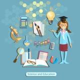 科学和教育,女小学生,学生,化学物理 免版税库存图片