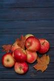 苹果和叶子在蓝色黑暗的木背景 库存图片