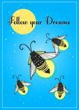 手拉的逗人喜爱的动画片萤火虫臭虫设计 库存图片