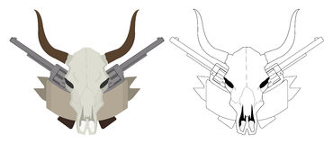狂放的西部母牛头骨,手枪,丝带商标 颜色 图库摄影