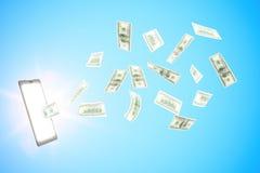在网上收入金钱与数字式片剂和美元 免版税库存照片