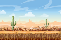 Шарж ландшафта пустыни Диких Западов безшовный Стоковые Изображения RF