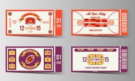 橄榄球和篮球票传染媒介设计模板 库存照片