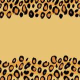 Границы печати кожи леопарда картина животной безшовная, вектор Стоковое Фото
