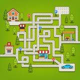 与路的迷宫比赛,汽车,家,树,加油站 免版税库存照片