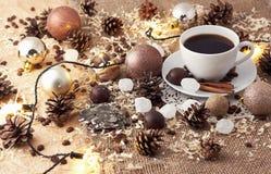 圣诞快乐咖啡静物画 免版税库存图片