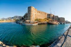 凯里尼亚,塞浦路斯中世纪城堡  免版税图库摄影