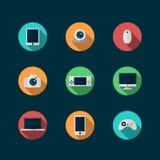 Τεχνολογία και εικονίδια συσκευών καθορισμένα Στοκ Φωτογραφία