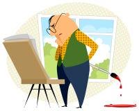 有画架的艺术家 免版税库存图片