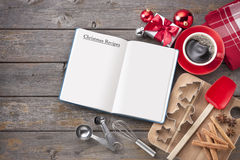 Предпосылка древесины выпечки рецепта рождества Стоковые Фото