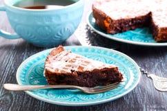 巧克力软糖蛋糕切片 免版税库存图片