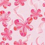 花桃红色时髦的线无缝的样式 免版税库存照片