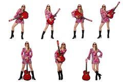 在白色隔绝的妇女吉他演奏员 库存照片