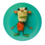 绿色板材的菜妖怪 库存照片