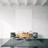 Φωτογραφία του κενού καμβά στον άσπρο τοίχο τούβλων Στοκ φωτογραφίες με δικαίωμα ελεύθερης χρήσης