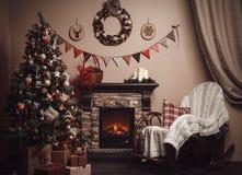 νέο έτος διακοσμήσεων Χριστουγέννων Ύφος τεχνών Στοκ Φωτογραφίες