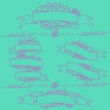 乱画华丽花卉丝带,与花的减速火箭的横幅 免版税图库摄影