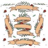 乱画华丽花卉丝带,与花的减速火箭的横幅 库存照片