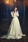 美丽的维多利亚女王时代加工好的妇女在神仙的森林里 免版税库存图片