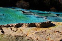 黄龙国家公园五颜六色的秋天风景  免版税图库摄影