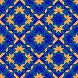 用蓝色和橙色树荫不同的形状的时髦几何无缝的样式  库存图片