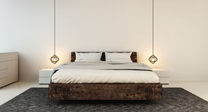 现代家和旅馆卧室的卧室内部 库存图片