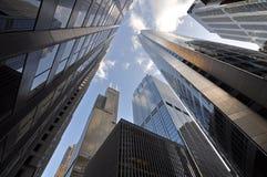 街市芝加哥新的老摩天大楼 免版税库存图片