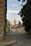 从布拉索夫的老镇街道在斯洛伐克 免版税库存照片