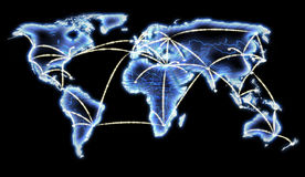 互联网映射网络电信世界 免版税库存图片