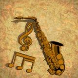 Ключ саксофона дискантовый и музыкальное примечание на текстурном Стоковое Изображение