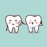 健康有听诊器的动画片牙 免版税库存图片