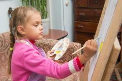 女孩在艺术家的演播室画在一个画架的图片油漆 免版税库存照片
