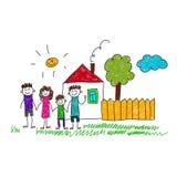 愉快的家庭的图象与房子的 免版税图库摄影