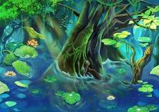 例证:树池塘 免版税库存照片