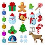 圣诞节剪报包含被设置的数字式图标例证路径 免版税库存照片