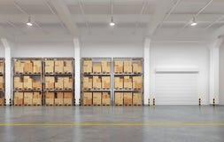 有许多机架和箱子的仓库 免版税库存图片