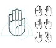 Значки жеста рукой Стоковое Изображение