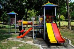 儿童室外操场在雪兰莪,马来西亚 免版税库存照片