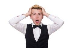 Ο νεαρός άνδρας στη μαύρη κλασική φανέλλα Στοκ φωτογραφία με δικαίωμα ελεύθερης χρήσης