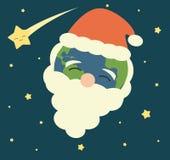 动画片与圣诞老人的帽子和彗星假日例证的圣诞节地球 免版税库存图片