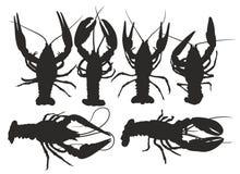 龙虾剪影  免版税库存图片