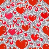 Άνευ ραφής διακόσμηση με τις καρδιές και τους στροβίλους Στοκ εικόνα με δικαίωμα ελεύθερης χρήσης