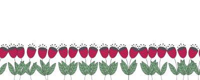 与花的横幅 红色平的风铃草无缝的边界 图库摄影