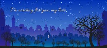 浪漫消息,我等待您,我的爱 免版税库存照片