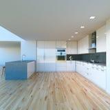 新的装饰的当代白色厨房在豪华大家 免版税库存照片
