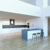 新的装饰的当代白色厨房在豪华大演播室 库存图片