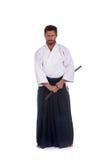 Мастер айкидо стоя все еще Стоковая Фотография RF