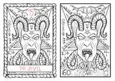 主要奥秘占卜用的纸牌 线性基本的恶魔的梯度没有使用的透明度 免版税库存照片