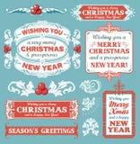 圣诞节设置了-标签、象征和其他装饰要素 库存照片